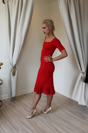 Isabel De Pedro Form Fitted Red Dress Short Sleeves