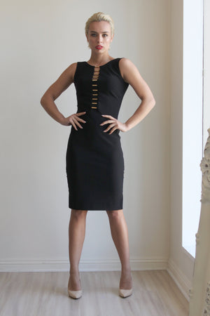 Joseph Ribkoff Black Dress With Gold Details