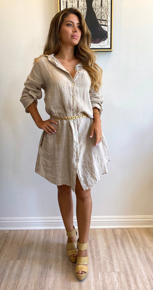 Papillon Styles Short Linen Dress
