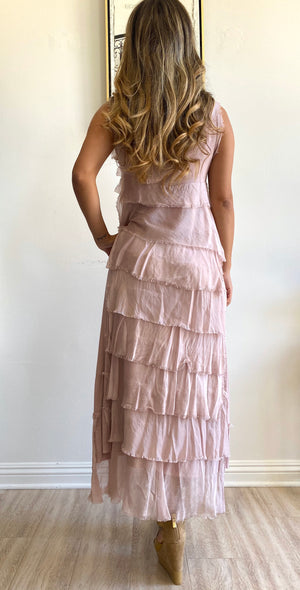 Papillon Styles Silk Ruffle Dress