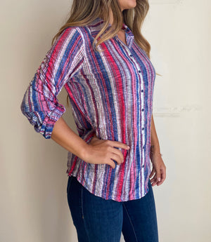 David Cline Long Sleeves Wrinkle Front Stripes Blouse