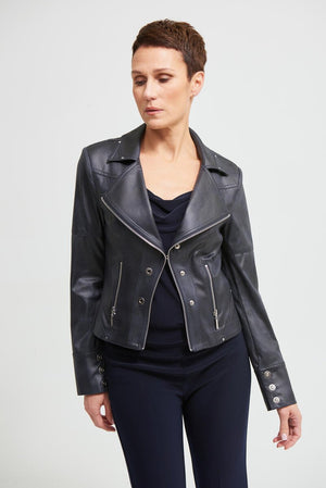 Joseph Ribkoff Long Sleeve Moto Jacket Zipper Pokets