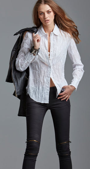Cino Long Sleeve Wrinkle White Blouse