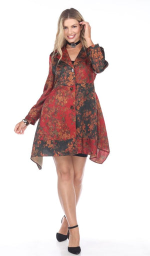 Shennel Floral Crimson Trench