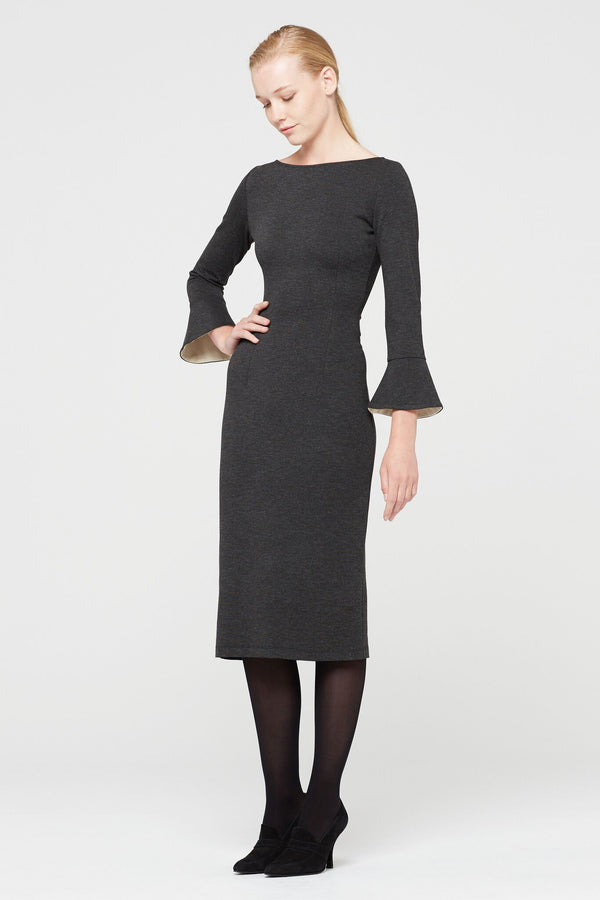Isabel De Pedro  Scope Neck, Long Fitted Dress, Color gray Long Sleeves