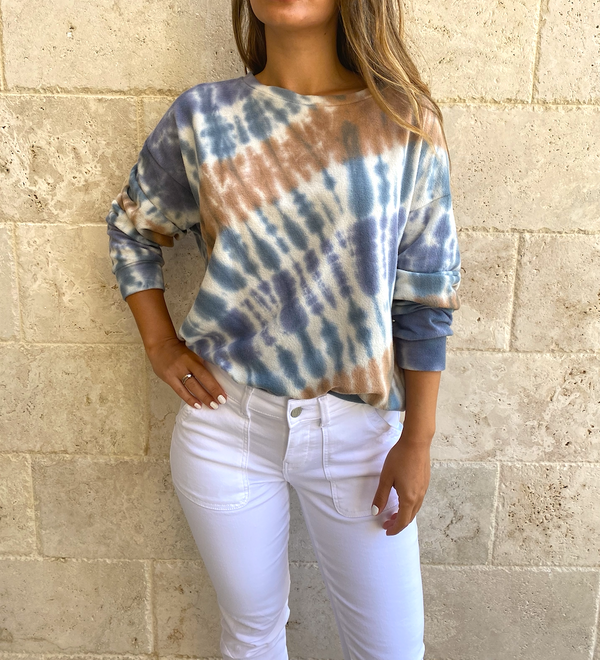 By Together Long Sleeves Knit Poly Cotton Jersey Tie Dye Top
