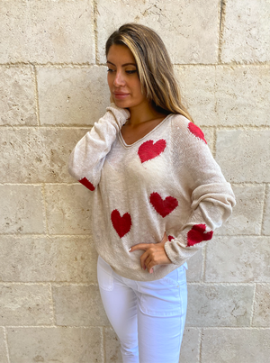 By Together Hearts All Over Light Weight V Neck Long Sleeve Pullover