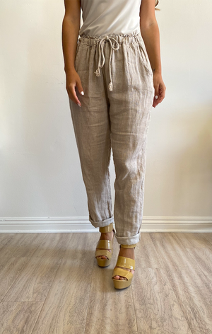 Papillon Styles Stripes Back Pockets Linen Pants