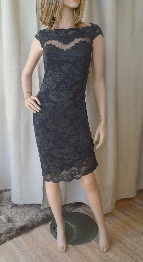Olvis Lace Cap Sleeve Dress  with Sheer Tulle Detail on Chest Area