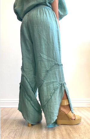 Papillon Styles Linen Pants with Ruffle Detailing
