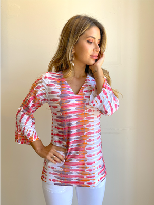 Whimsy Rose Ink Blot Pink 3/4 Sleeve V Neck Tunic