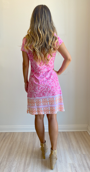 Whimsy Rose Greek Leaves Pink Orange Classic Crew Dress
