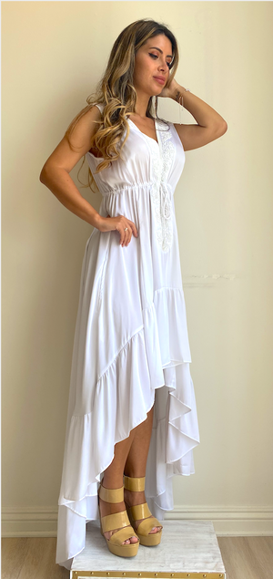 Shahida White Long Dress