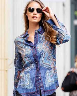Cino Long Sleeve Printed Crinkle Blouse