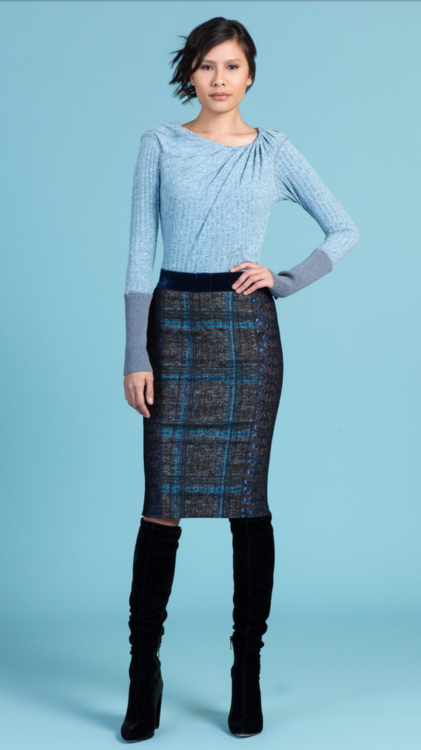 Byron Lars Pencil Plaid Espresso Cobalt Skirt