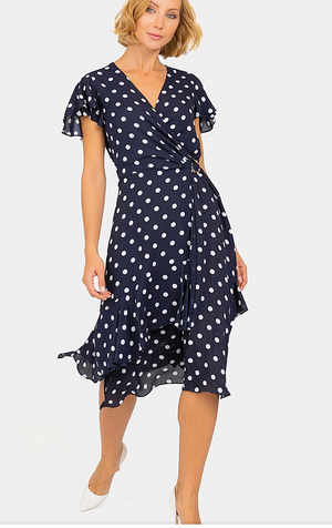 Joseph Ribkoff Pokadot Short Sleeve Dress