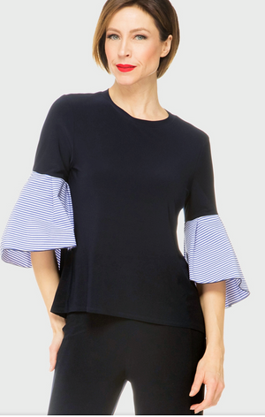 Joseph Ribkoff  Solid Body Strip Sleeves Blouse