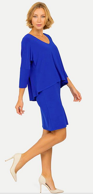 Joseph Ribkoff  V Neck 3/4 Sleeves Dress