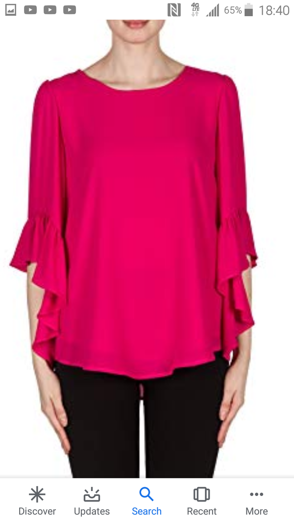 Joseph Ribkoff Pull on Top with Ruffle Sleeves