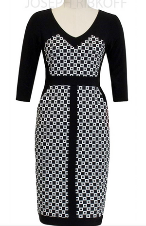 Joseph Ribkoff Black and White Dress with Sleeves