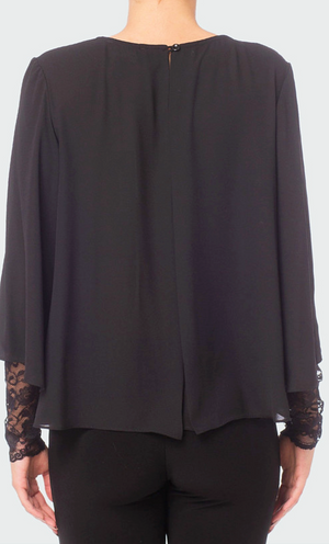 Joseph Ribkoff Black Lace Top with Sleeves