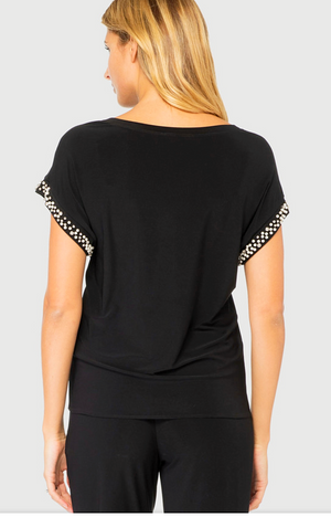 Joseph Ribkoff Short Sleeves Rhinestones Top