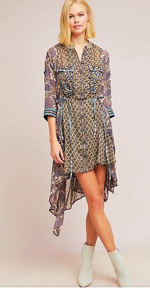Byron Lars Long Sleeves Mixed Prints Woods Tunic Dress