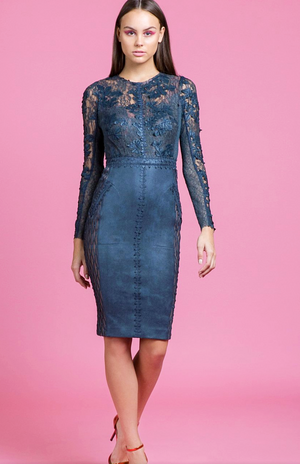 Byron Lars Long Sleeeves Lace With Belt Dress