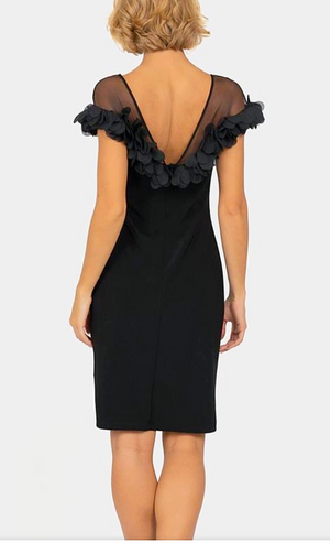 Joseph Ribkoff Mesh On Top Sleeveless Cocktail Dress