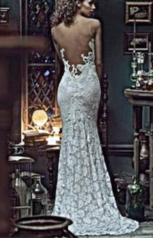 Olvis V Neck Trumpet Open Back Lace Wedding Gown