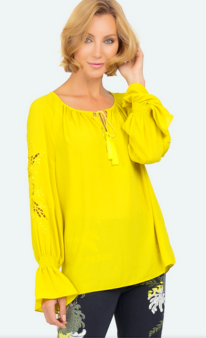 Joseph Ribkoff Long Sleeves Spring Yellow Blouse