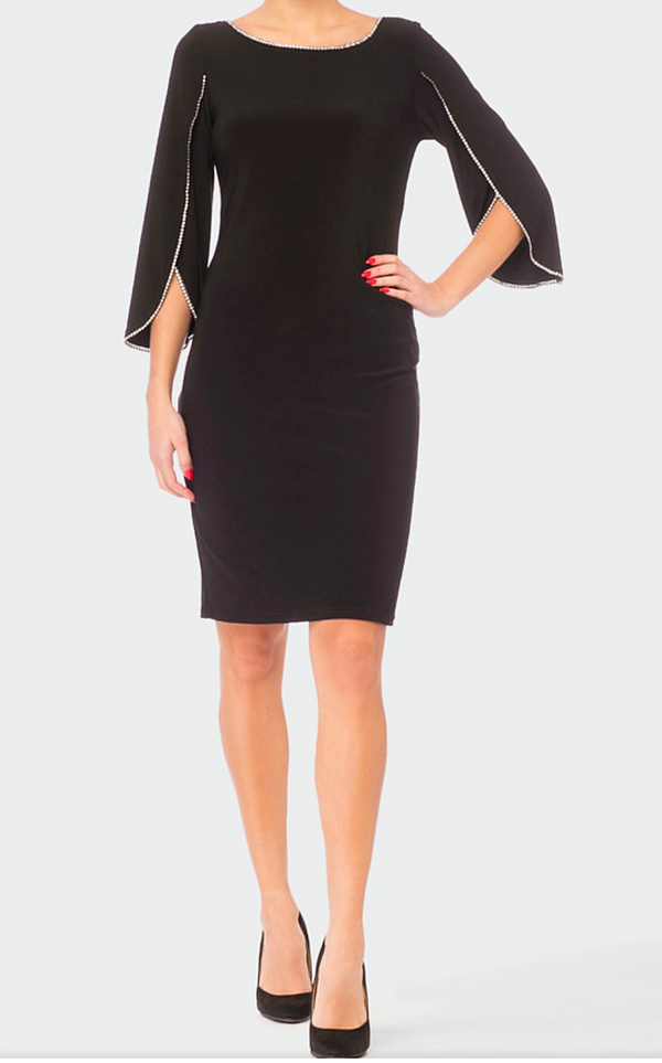 Joseph Ribkoff Black Dress With 3/4 Sleeves