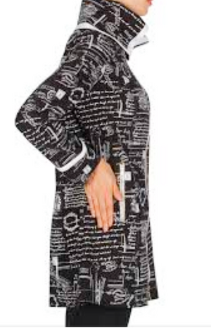 Joseph Ribkoff French Writting Print Black/White Jacket W/Gold Zipper In Front