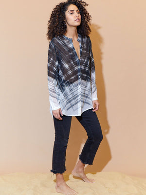 Go Silk Abstract Sheer Flowy Button Down Long Sleeves Blouse