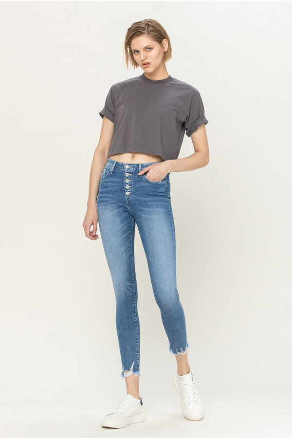 Flying Monkey Mid Rise Button Up Distressed Crop Skinny