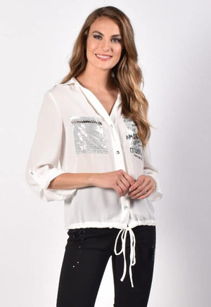 Frank Lyman Long Sleeve Front Pockets Sequin Blouse
