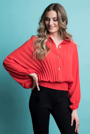Frank Lyman Asymmetric Oversize Long Sleeve Blouse