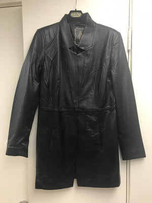 My Tribe Leather Long  Black Blazer
