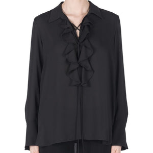 Joseph Ribkoff Pull Over Chiffon Blouse With Long Sleeves Ruffles Crisscross Around Neck Line