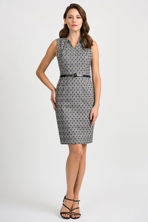 Joseph Ribkoff Sleeveless V-Neck Belt Dress