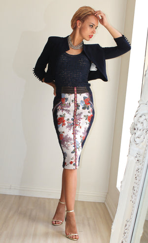 Byron Lars Pencil Skirt With Embellishment Of Lace And Embroidery