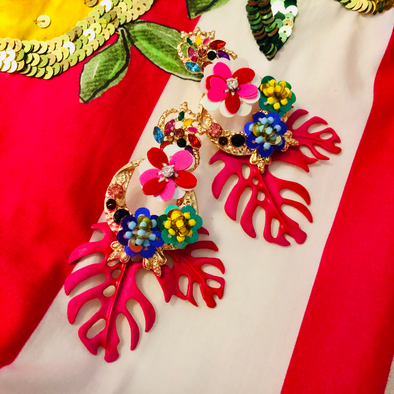 Tropical Breeze Earrings - Matt Hot Pink