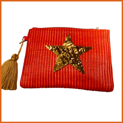 Coral Woven Clutch