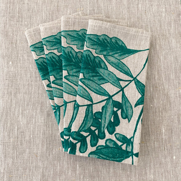 Green Foliage Hand Printed Napkins (Set of 4)