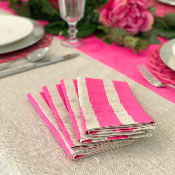 Neon Pink Stripe Hand Printed Napkins (Set of 4)