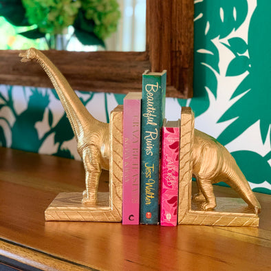 Readasaurus Bookends - Gold