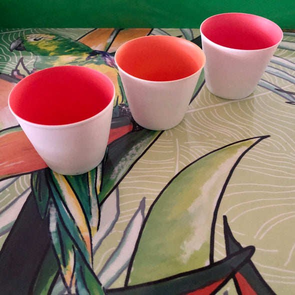 Trio of Ceramic Bowls - Salmon Pink + Apricot Pink