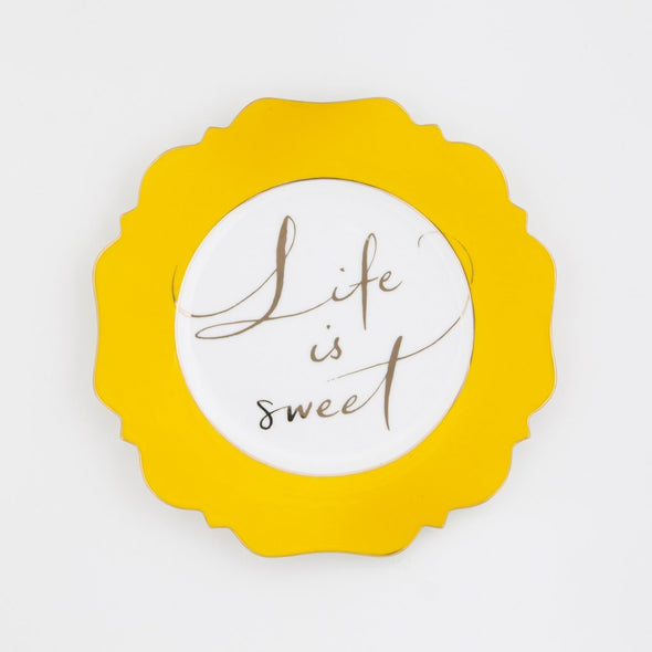 "Side Plate - Yellow ""Life Is Sweet"""
