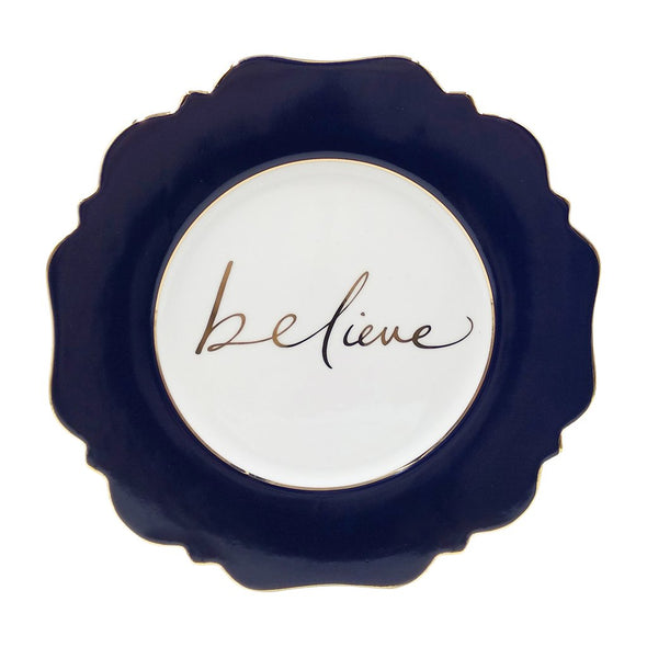 Side Plate - Navy Blue 'Believe'