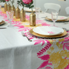 Neon Pink & Saffron Floral Handprinted Tablecloth